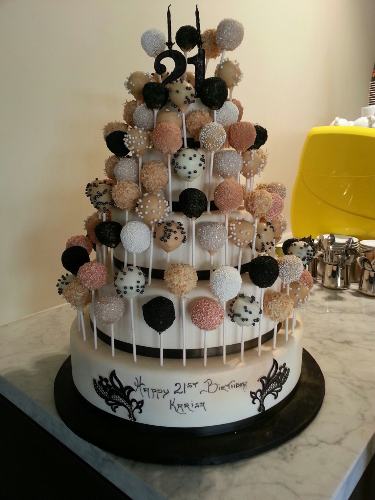 Three Tier Round Birthday Cake Cakepops The Delicious Biscuit