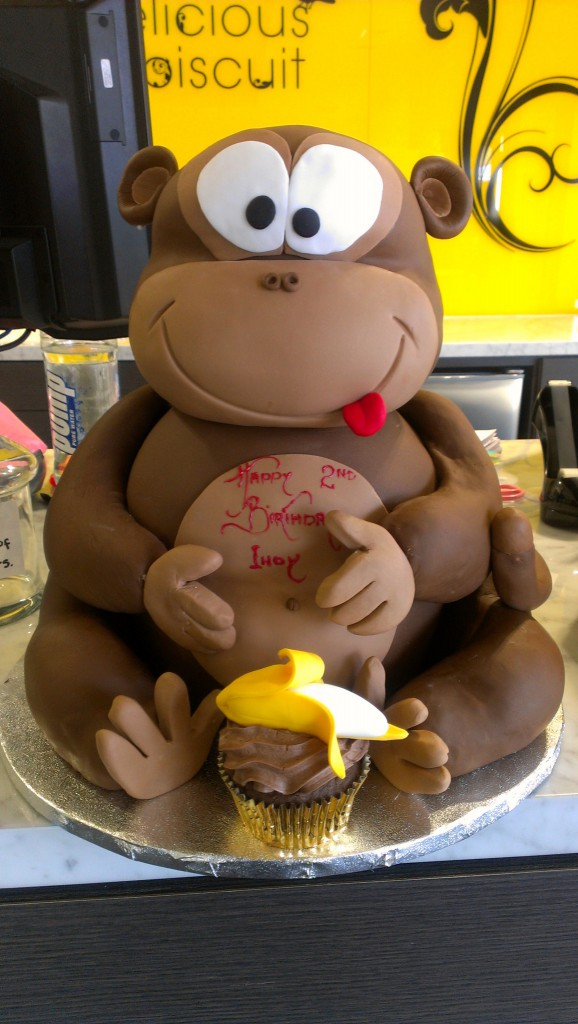 3d Sculpture Birthday Cake Monkey Banana The Delicious Biscuit