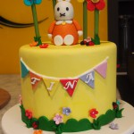 double-height-tier-round-birthday-cake-bunny-rabbit-flowers