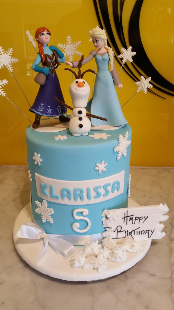 Double Height Tier Round Birthday Cake Frozen Anna Elsa Olaf The