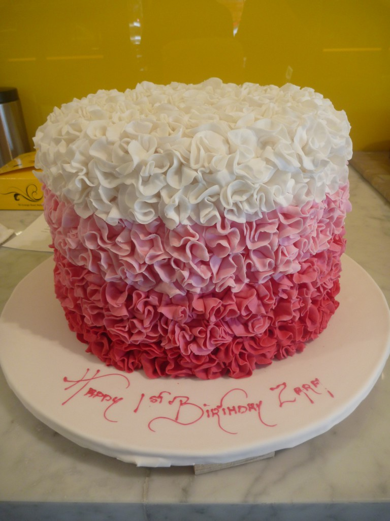 Double Height Tier Round Birthday Cake Pink White Frills The