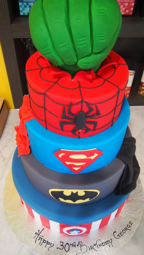 Four Tier Round Birthday Cake Superheros Batman Hulk Superman