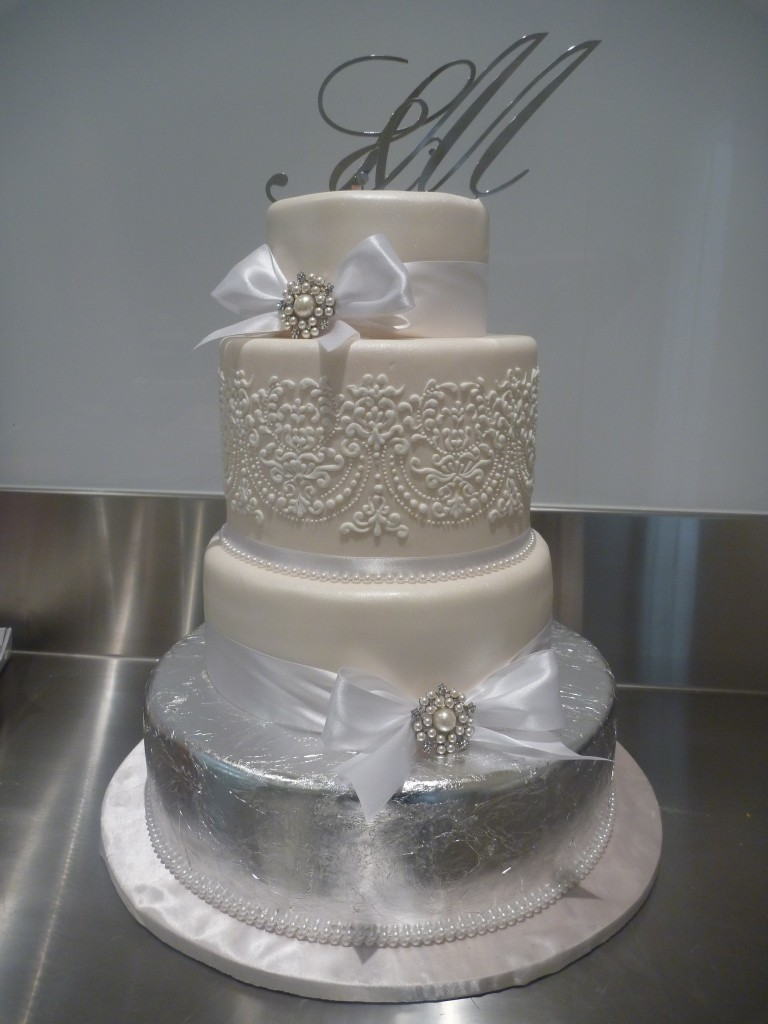 Four Tier Round Wedding Cake White Lace Bow Silver Leaf