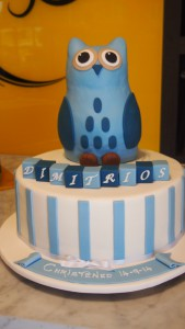 one-tier-round-boy-christening-cake-owl