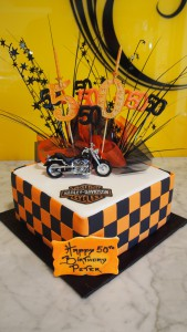 one-tier-square-birthday-cake-harley-davidson-bike-orange