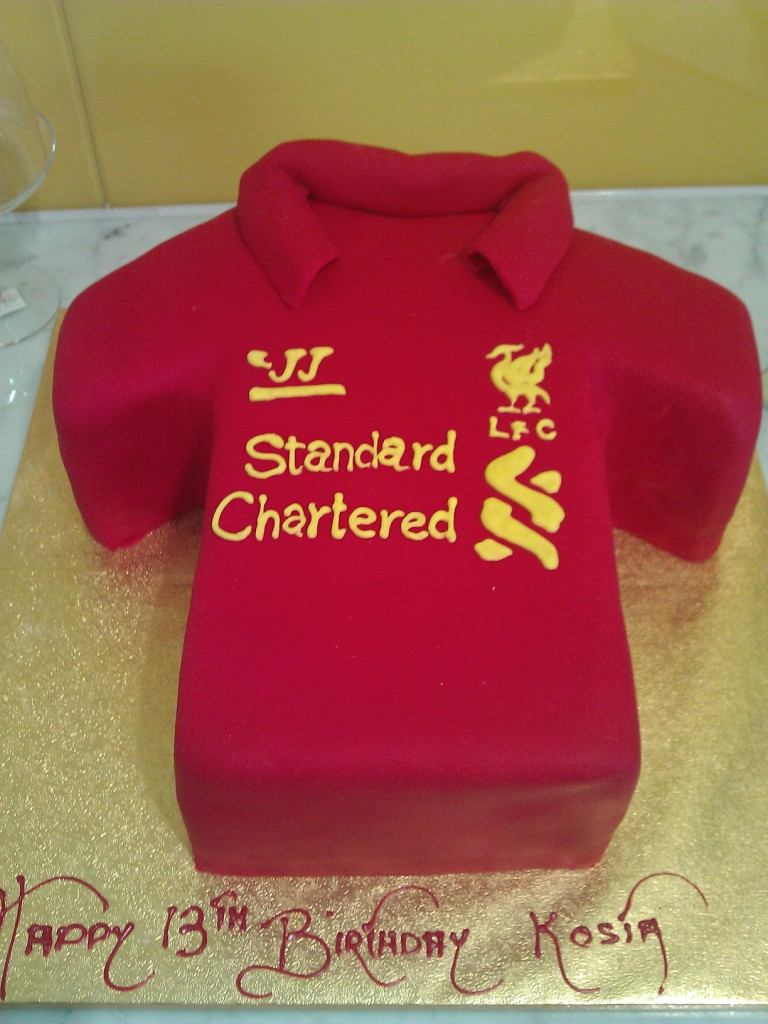 One Tier T Shirt Birthday Cake Liverpool Soccer England The