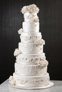 seven-tier-round-wedding-cake-white-flowers-peral-drops