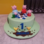 single-tier-round-birthday-cake-green-picnic-peppa-pig