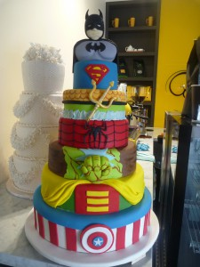 Six Tier Round Birthday Cake Superheros Batman Superman