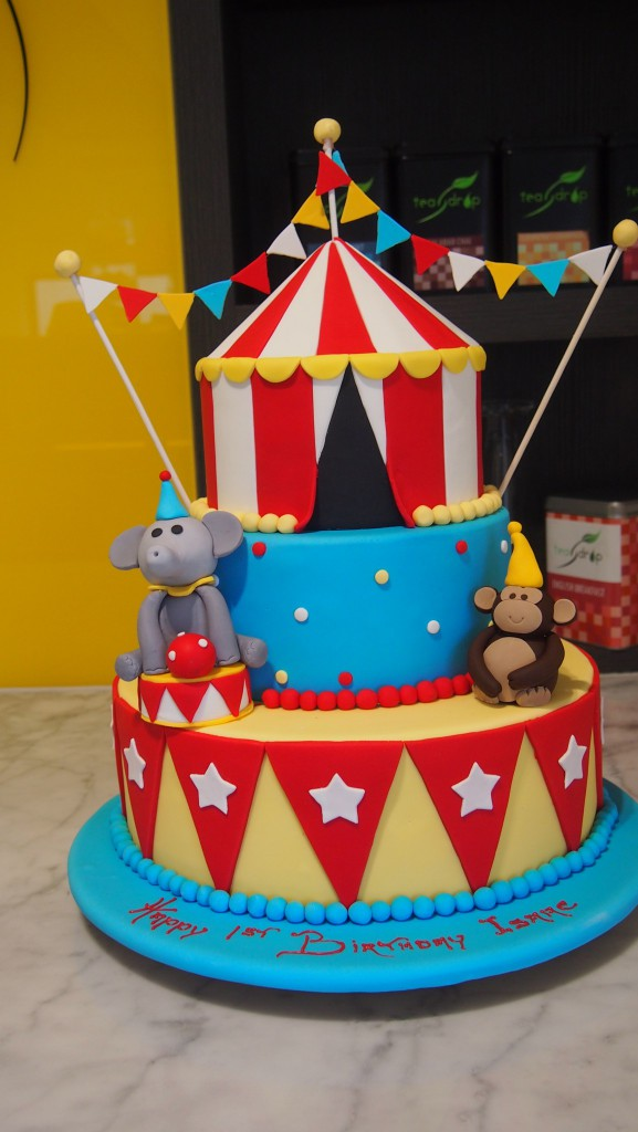 three-tier-round-birthday-cake-circus-tent-monkey- : carnival tent cake - afamca.org