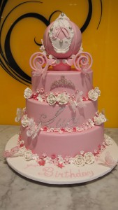 three-tier-round-girl-christening-cake-pink-pumpkin-carriage