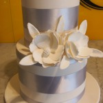 two-double-height-tier-circle-engagement-cake-white-silver-flower