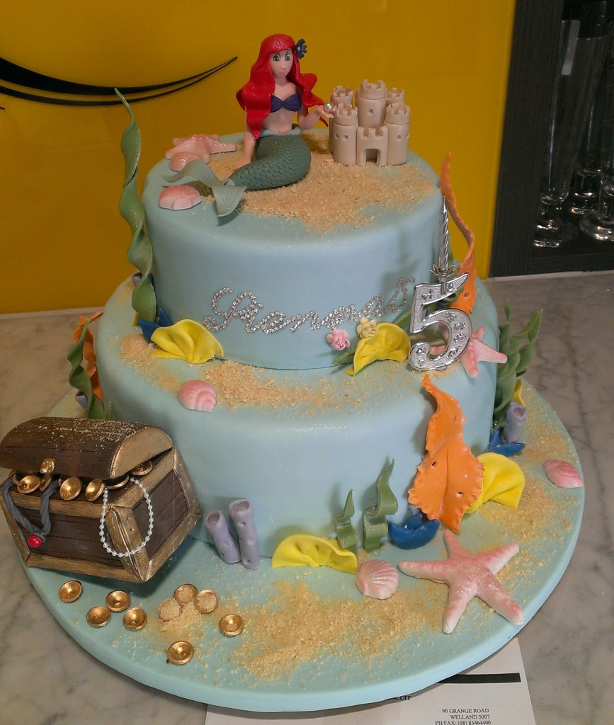 Two Tier Round Birthday Cake Girl Mermaid Treasure Chest Ariel The