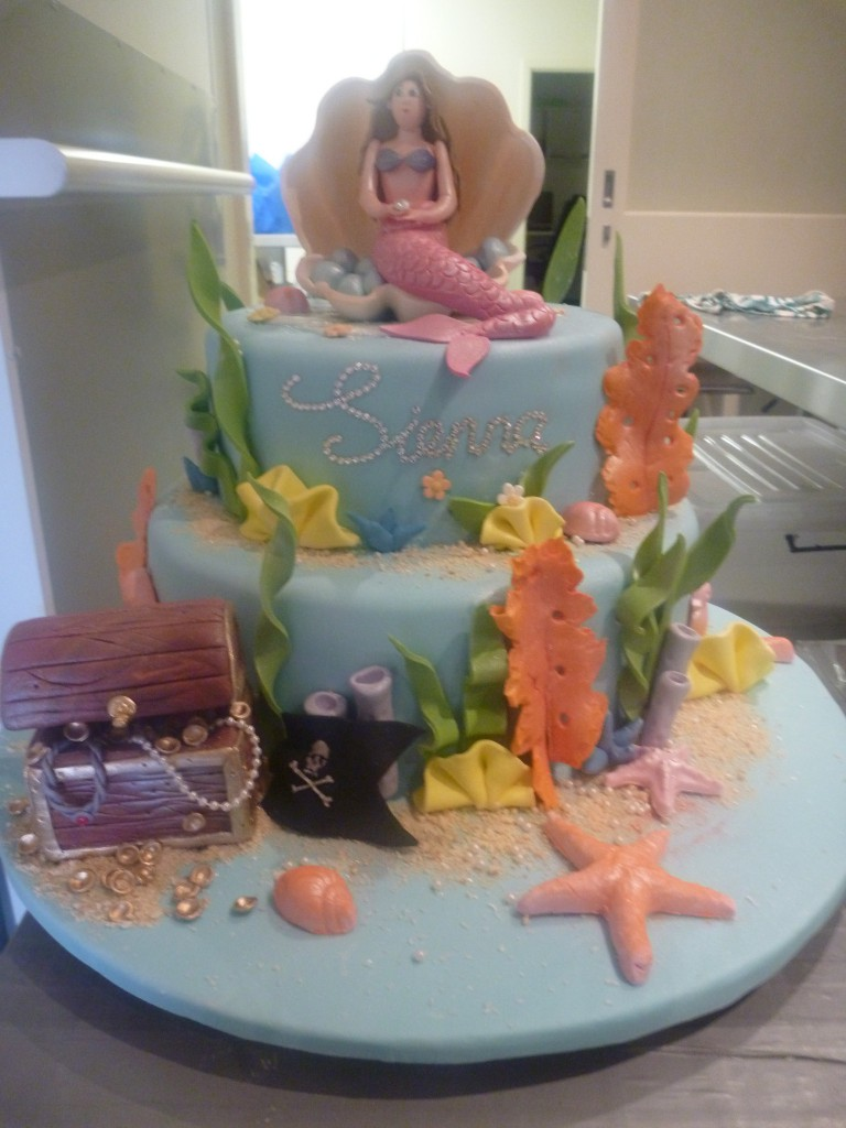 Two Tier Round Birthday Cake Girl Mermaid Treasure Chest The