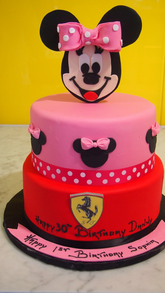 twotierroundbirthdaycakepinkredminniemouseferrari The