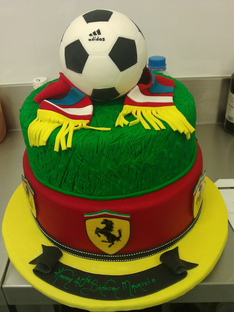Two Tier Round Birthday Cake Soccer Ball Ferrari Scarf The
