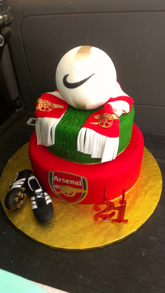 two-tier-round-birthday-cake-soccer-ball-nike-arsenal-boots-scarf ...