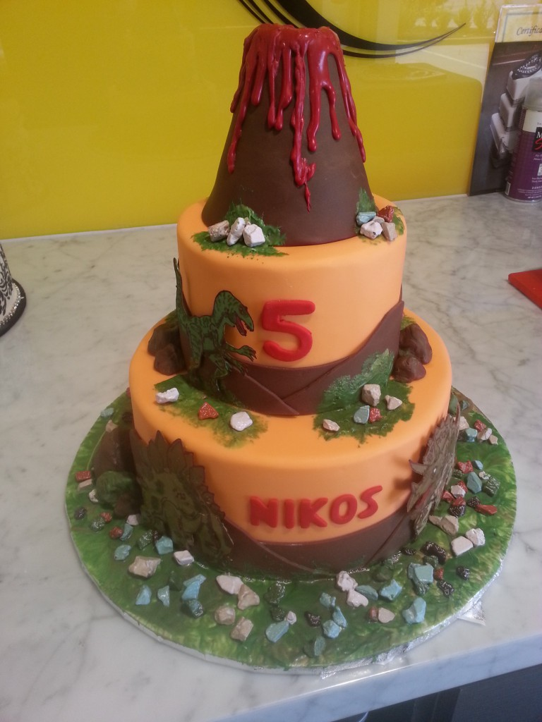 Two Tier Round Birthday Cake Volcano Rocks The Delicious Biscuit