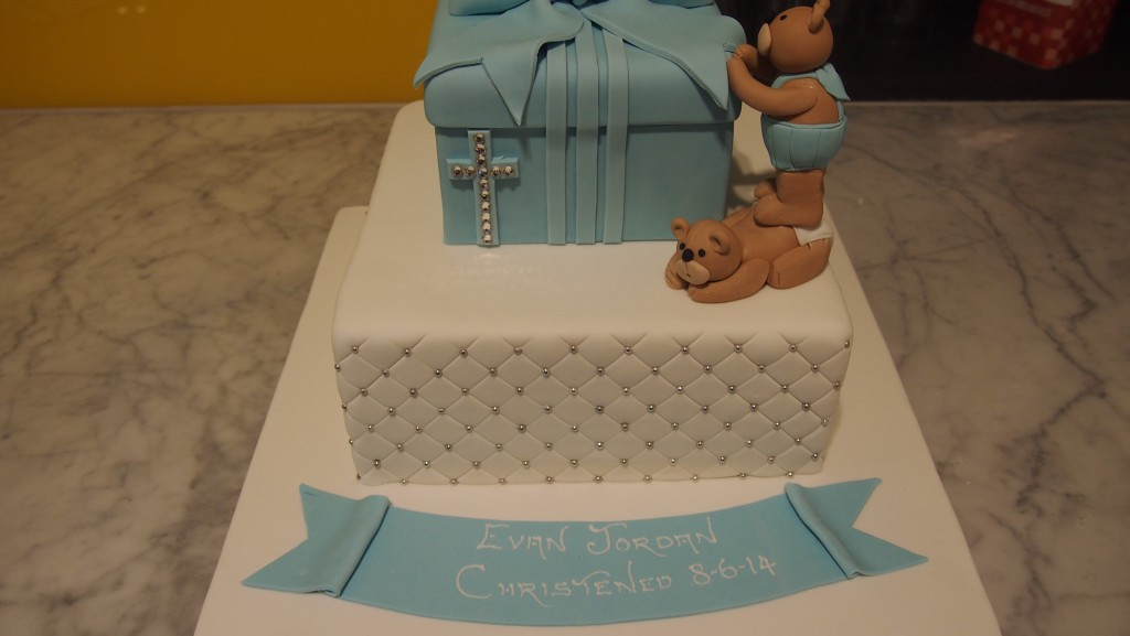 Square Christening Cake Images : two-tier-square-boy-christening-cake-twin-bears - The ...